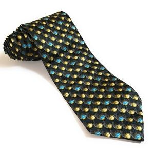Lanvin Paris Black Art Geometric Abstract Silk Tie